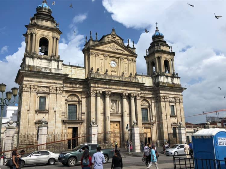 Each pillar of the cathedral contains stone tablets bearing the names of thousands of victims of Guatemala's civil war.
