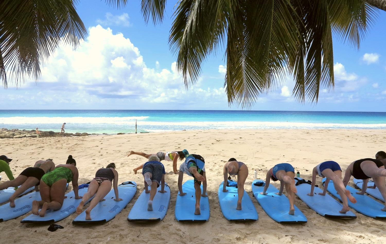 Pilates/Surf lessons - Fitness + Foolishness: Barbados 2015
