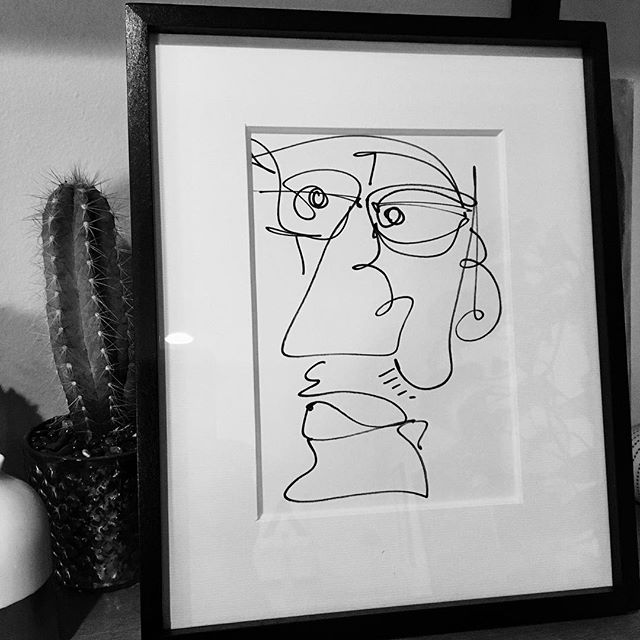 Drew this today. Funny how a frame makes it look like art. #drawing #art #face #frame #cactus #lineart