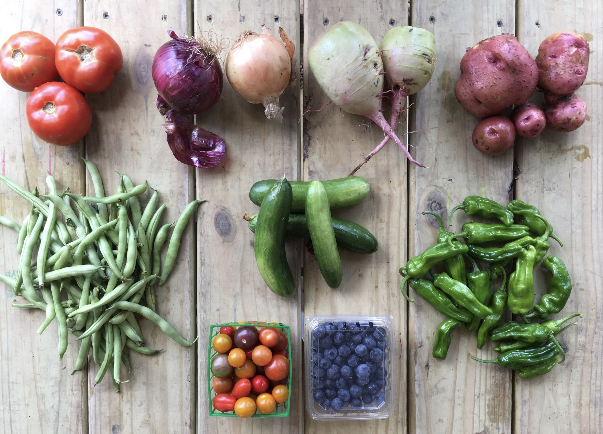 Top Row: Beefsteak Tomatoes, Cured Onions, Watermelon Radishes, and Potatoes.  Bottom Row: Green Beans, Cherry Tomatoes, Blueberries, and Shishitos.
