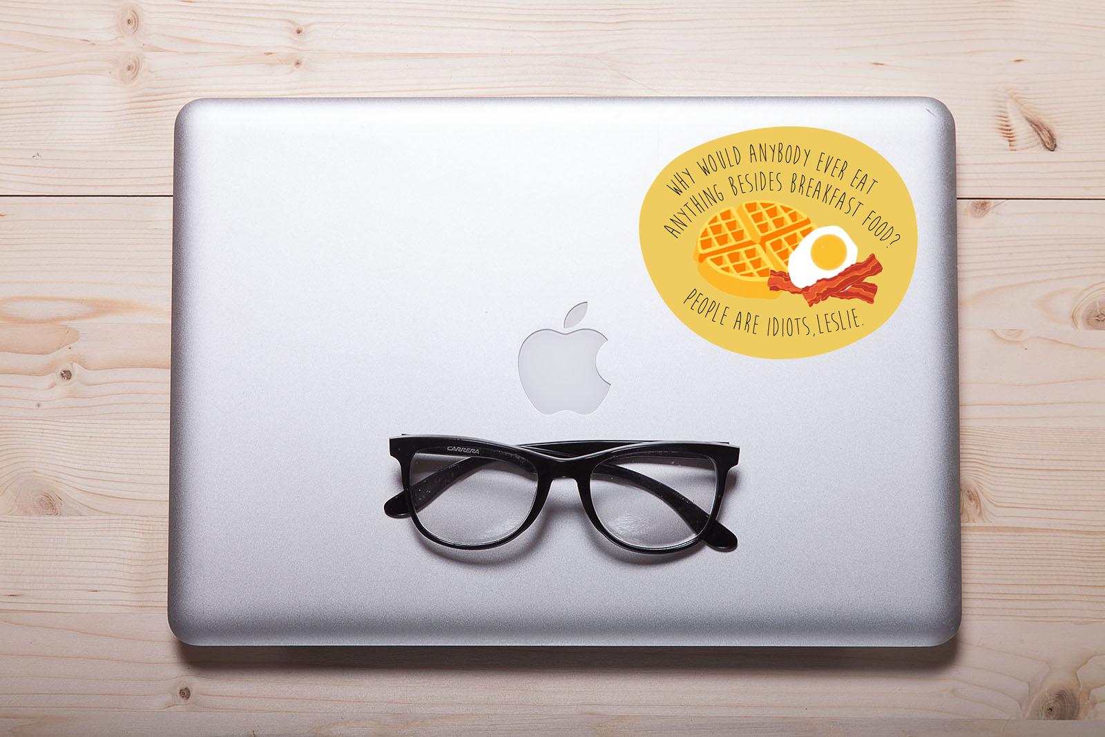 "Parks and Recreation ""Breakfast"" Laptop Sticker"