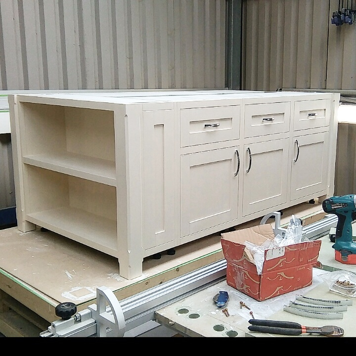 Large modern shaker island, mid manufacture in our Lincolnshire workshop.