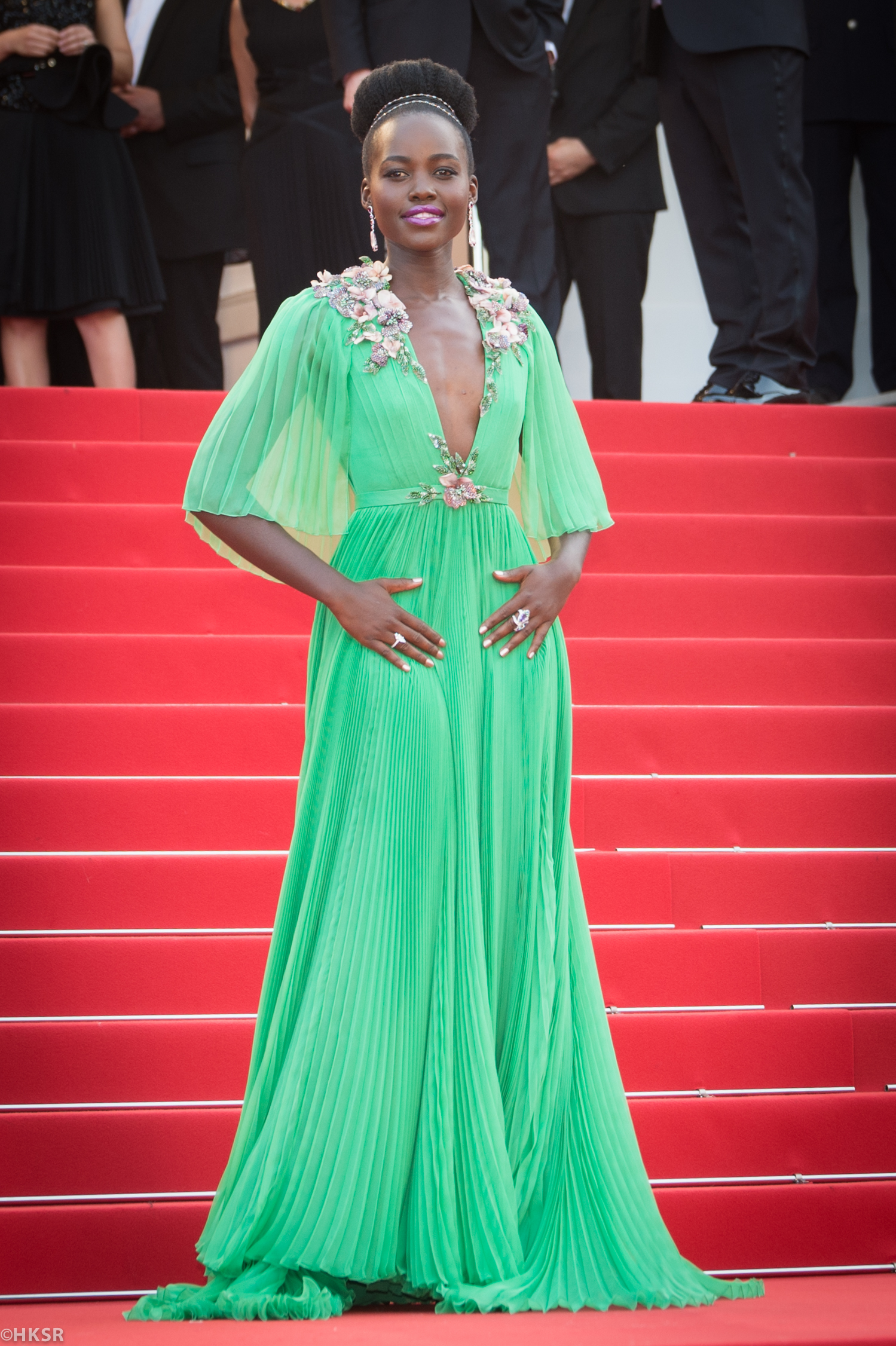 Lupita Nyong'o took the red carpet by storm in a green  Gucci gown at  Cannes 2015