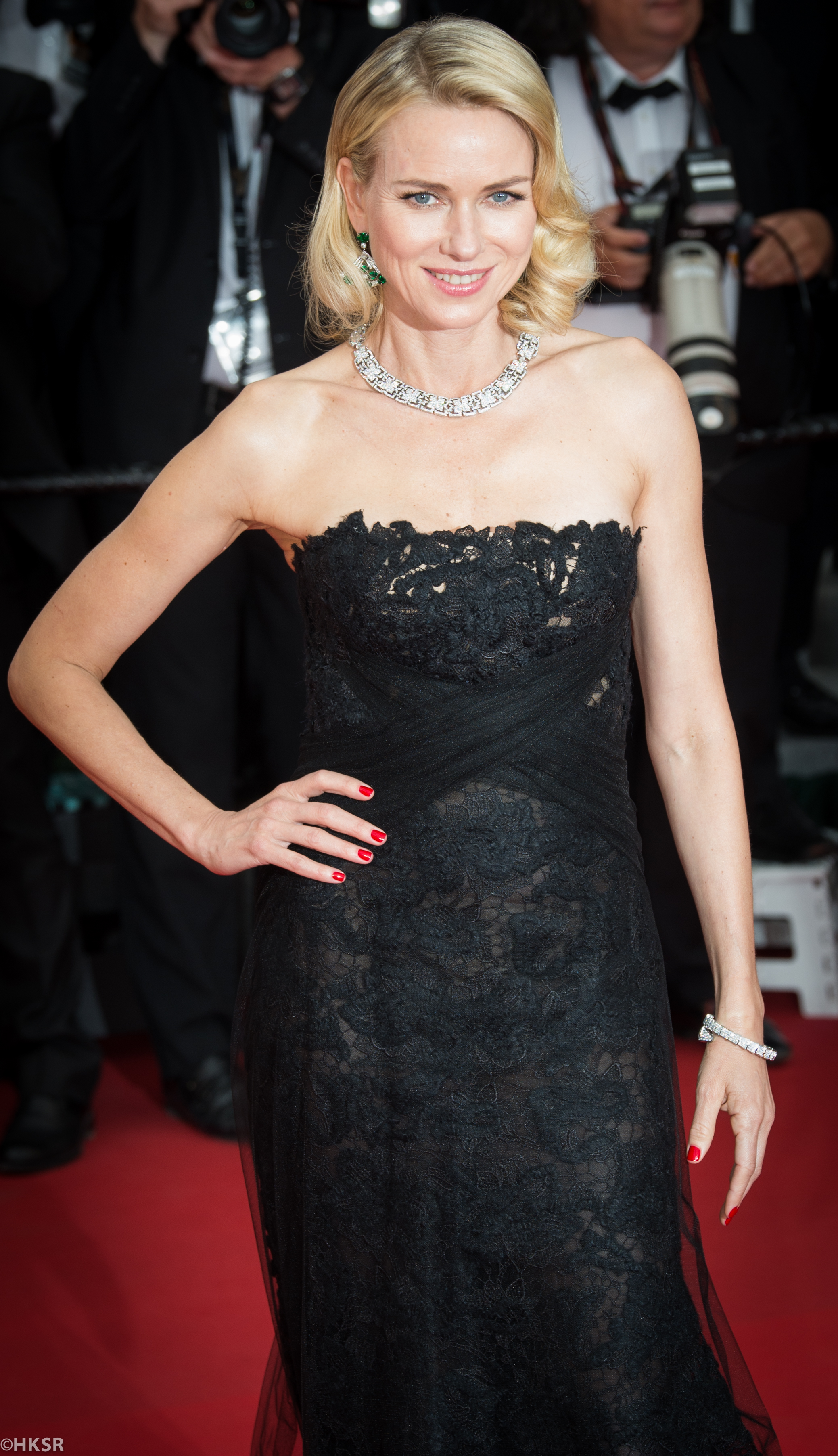 Naomi Watts in a Ralph Lauren strapless gown on the red carpet at Cannes 2015