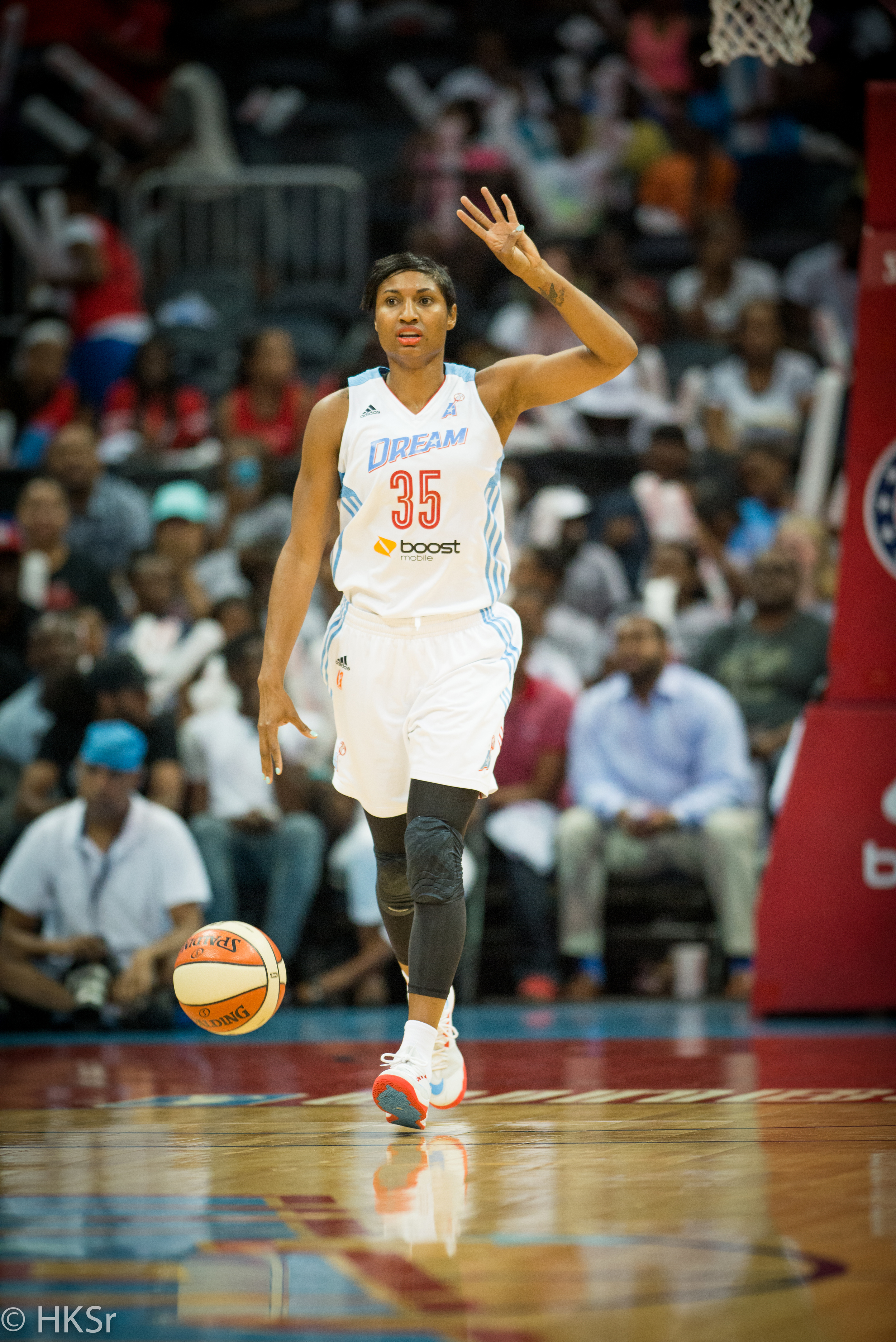 Atlanta Dream #35 Angel McCoughtry brings the ball down court