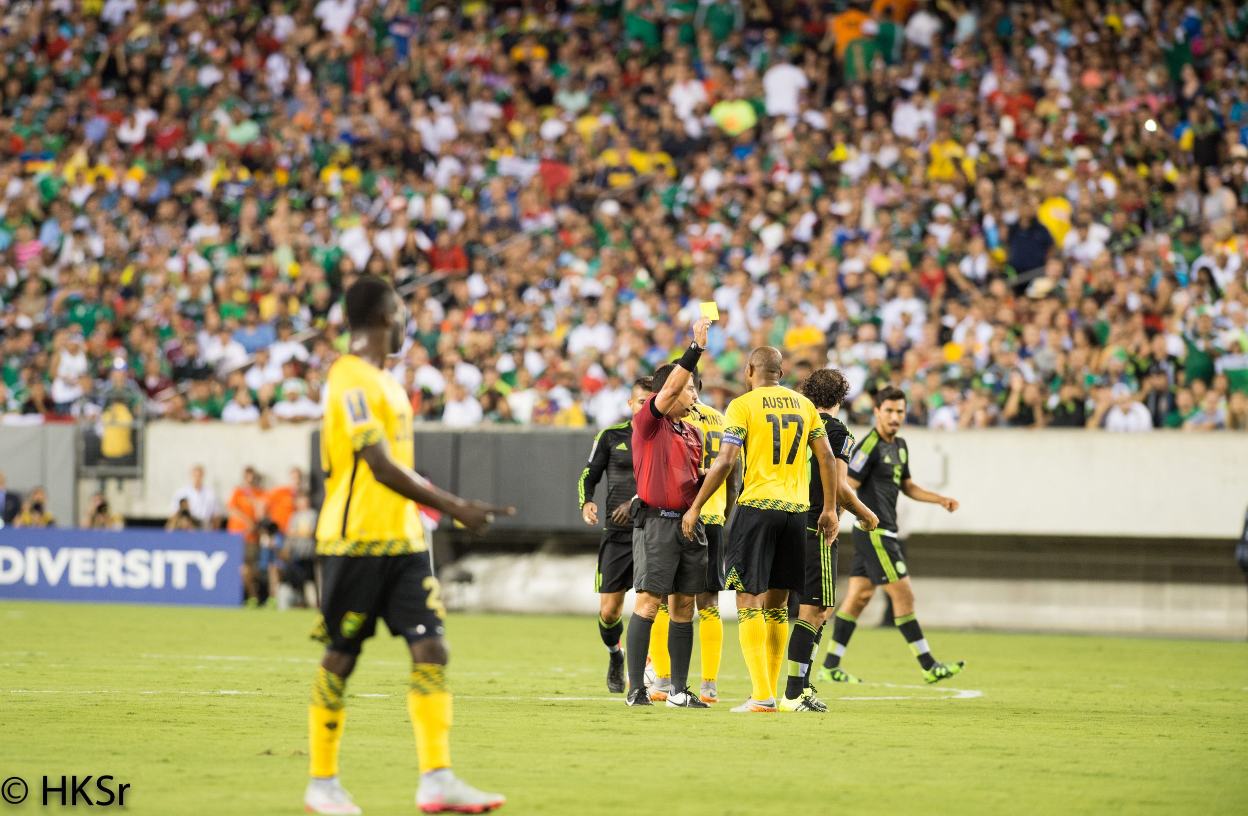 Yellow card given to Jamaica player#17 Rodolph Austin