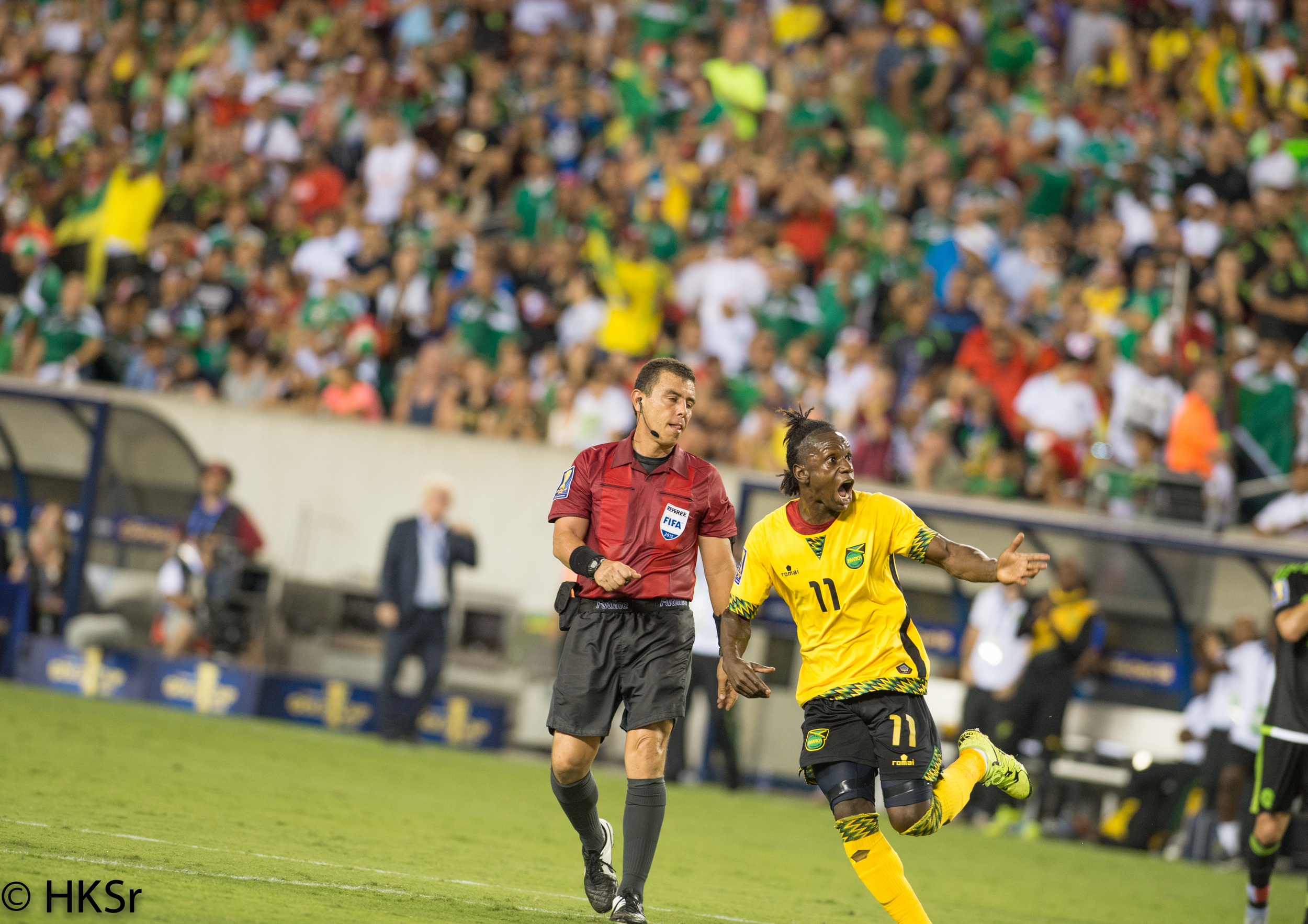 2nd half late goal by Jamaica player #11 Darren Mattocks