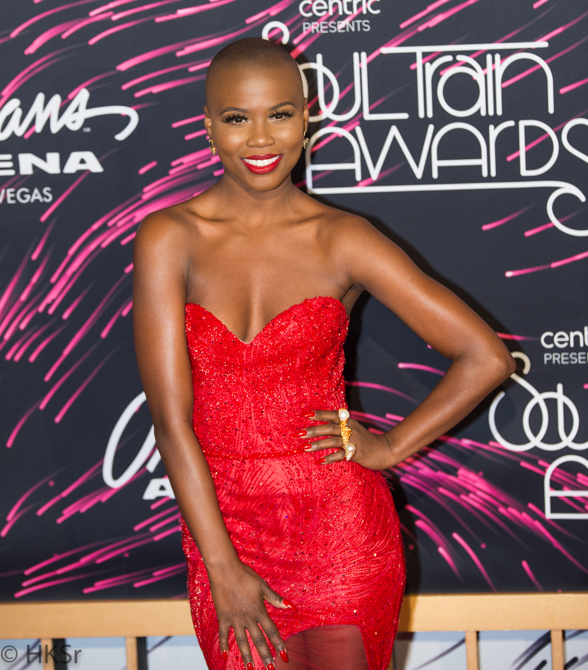 Victoria Bozeman looked stunning in her red dress on the red carpet at the Soul Train Awards