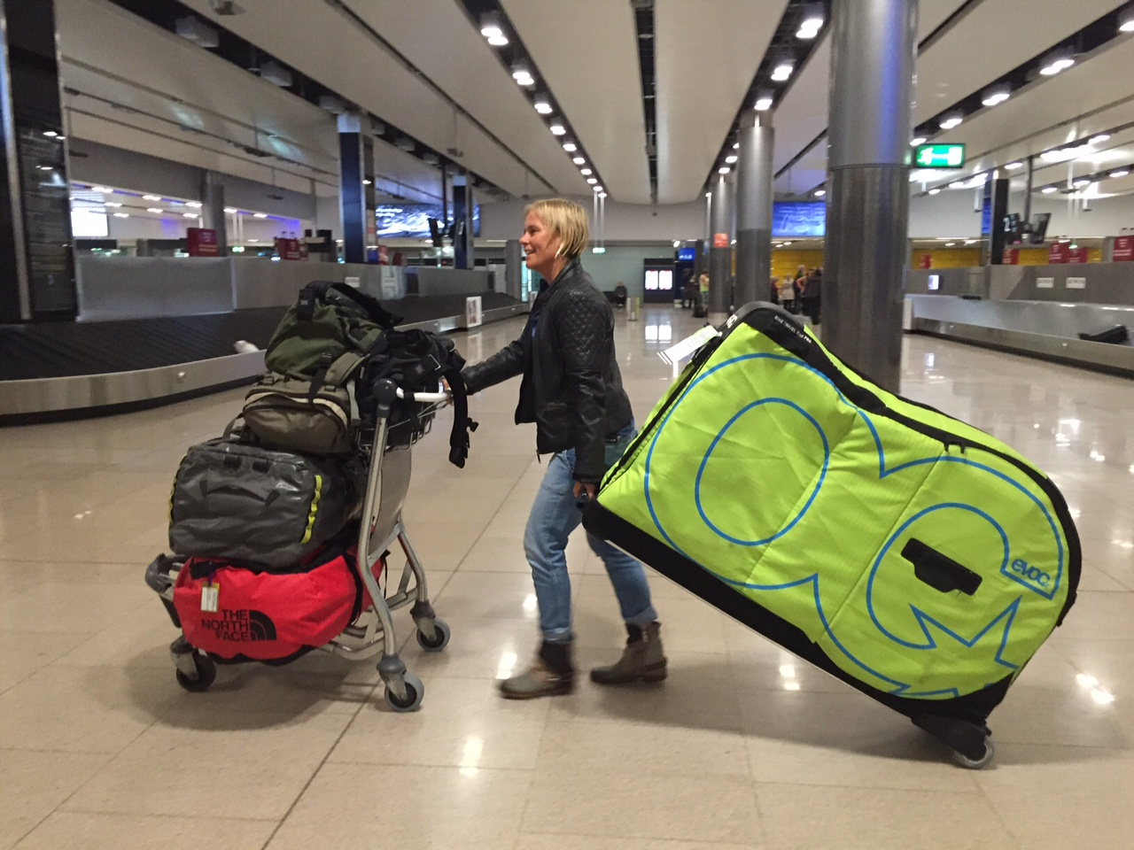 The joys of traveling with bicycles and lots of luggage.