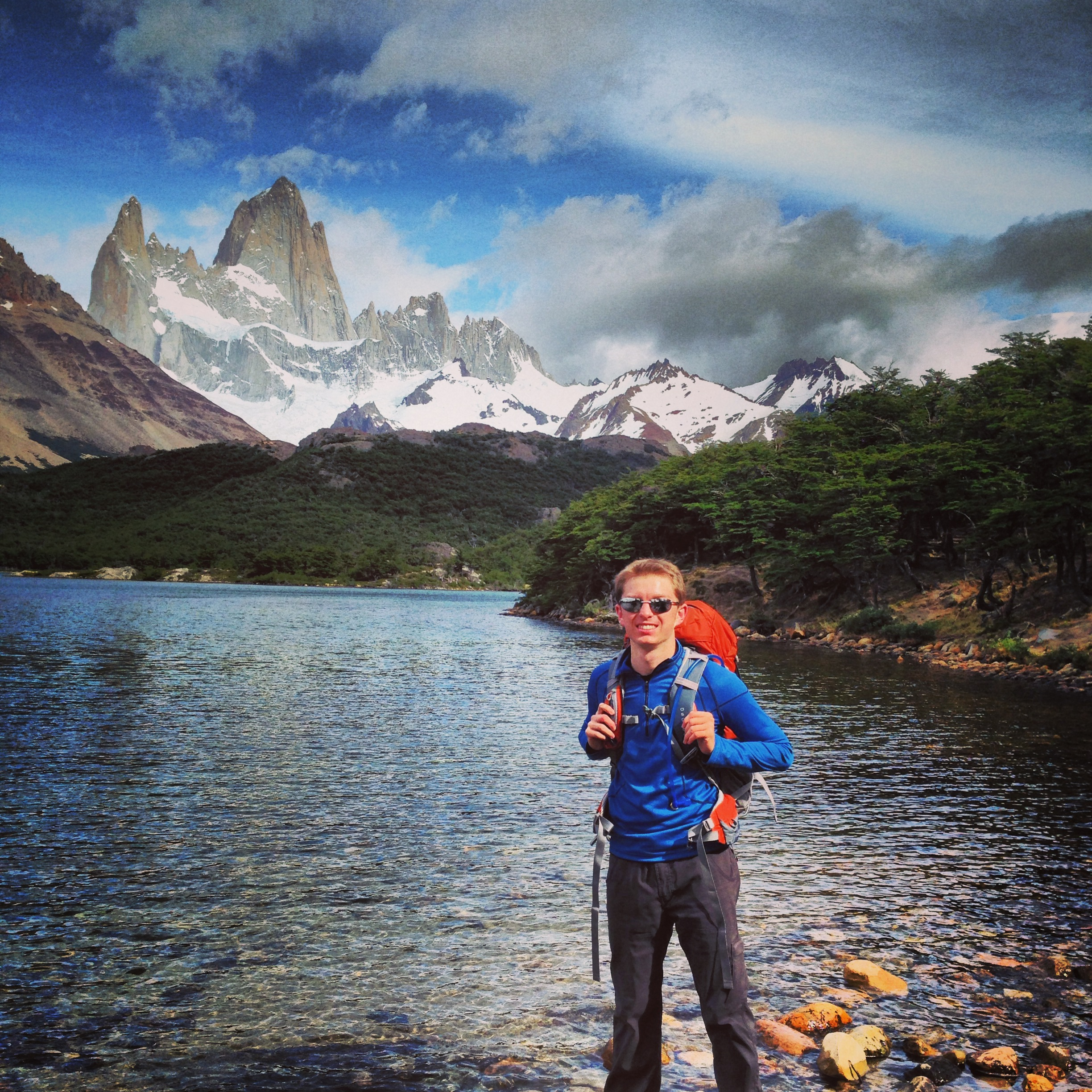 Hiking the Fitz Roy...not drenched...because it hadn't started raining yet. (Patagonia, Argentina 2013)