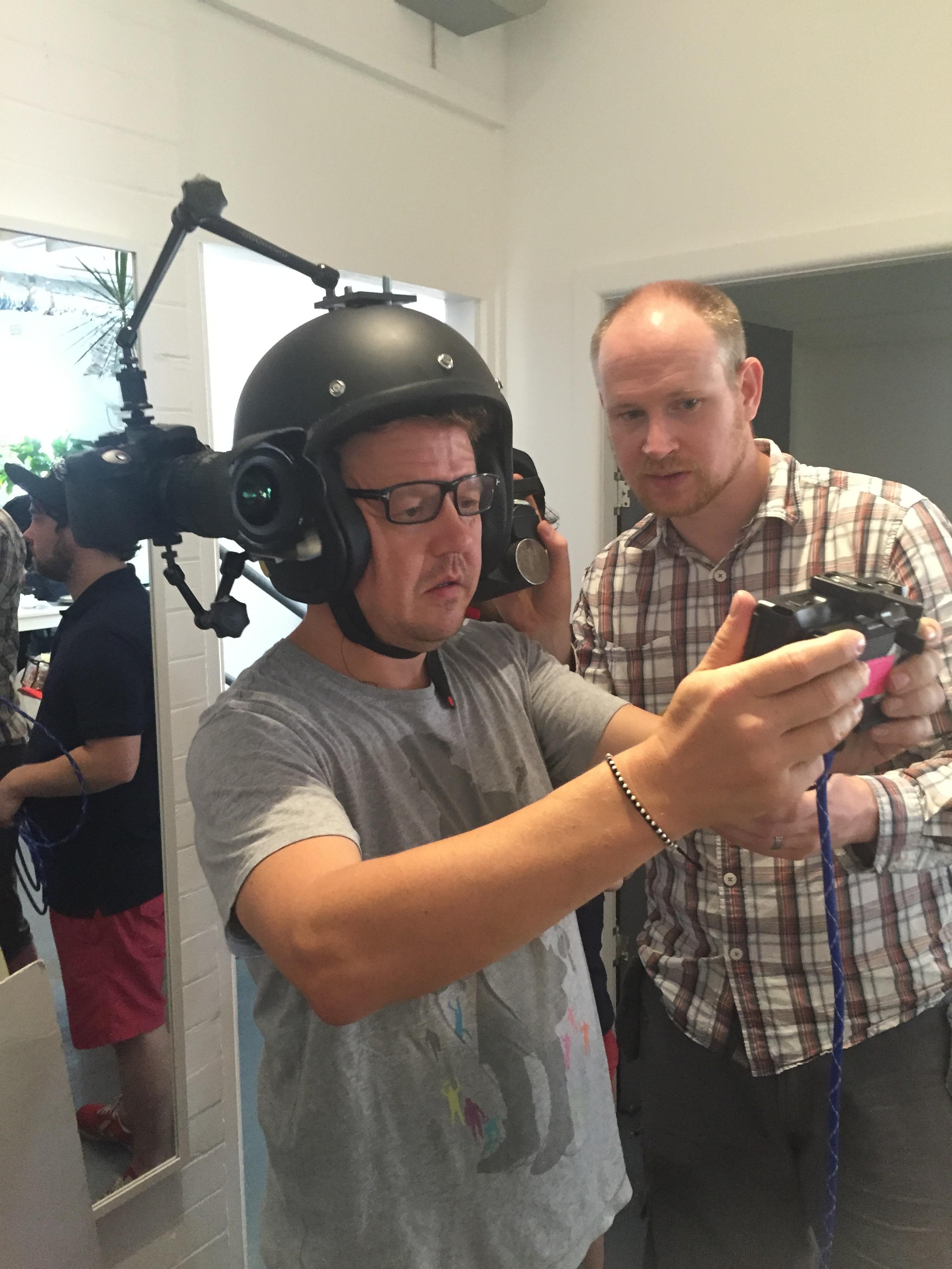 Director  Nick Bolton  trialling the POV camera rig
