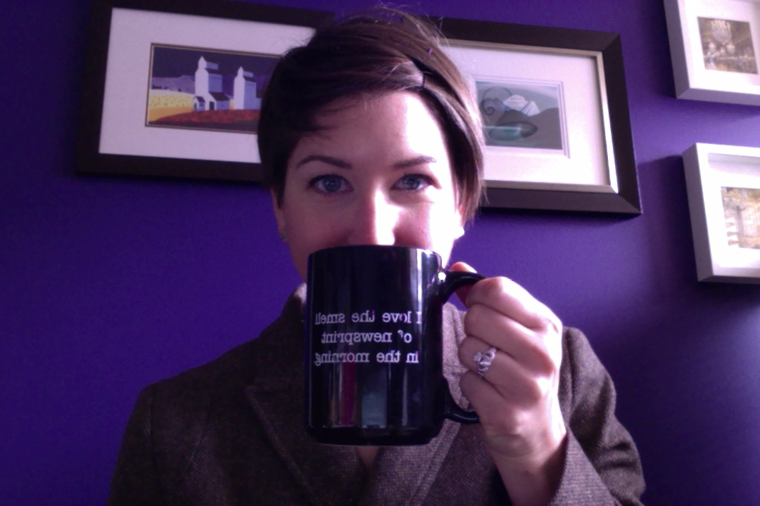 This is me, gulping coffee ahead of my interview for the fellowship.
