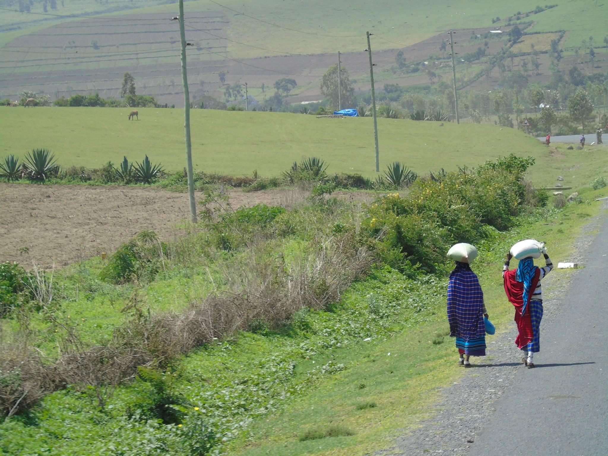 Photo of two women walking in Tanzania courtesy of Jason Ho.