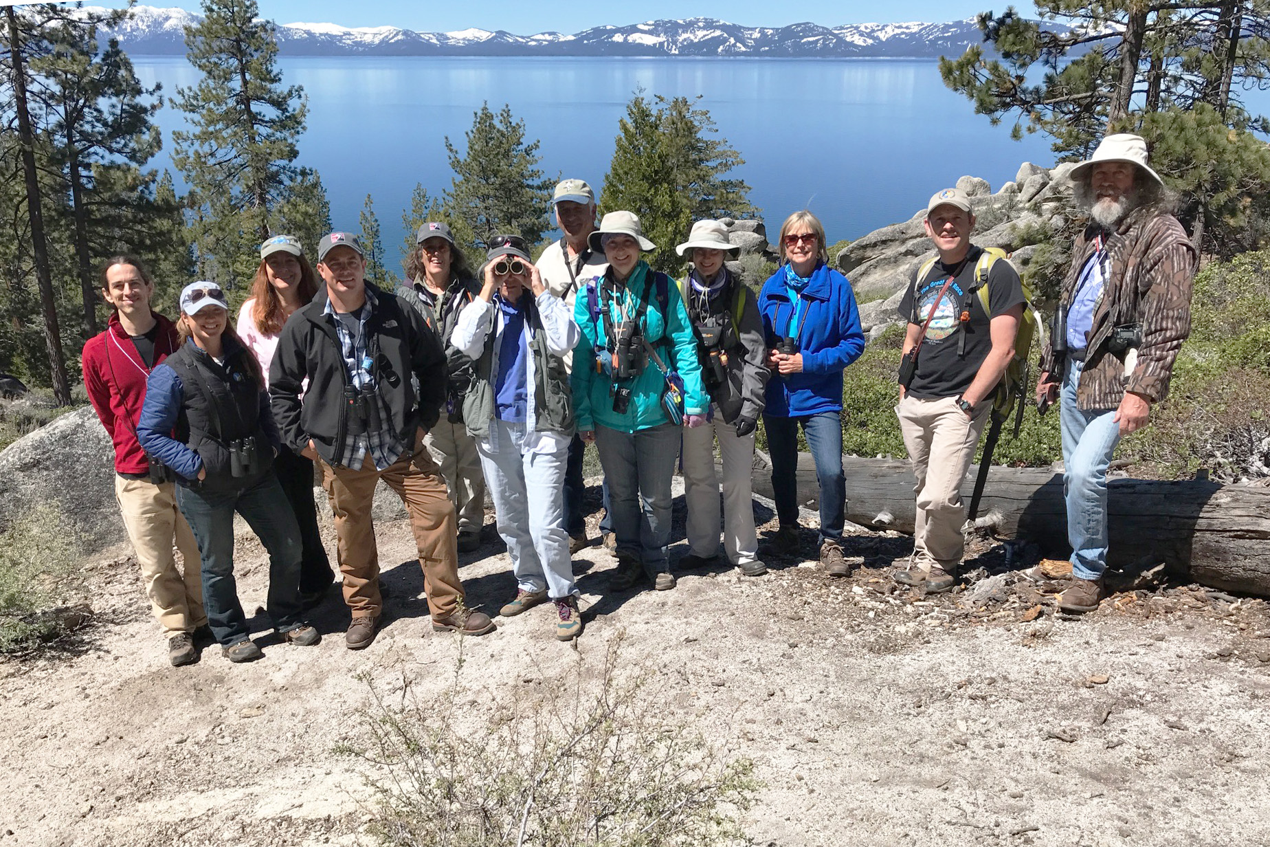 The Spooner Summit field trip reaching a Lake Tahoe vista. Photo by Greg Hachigian.