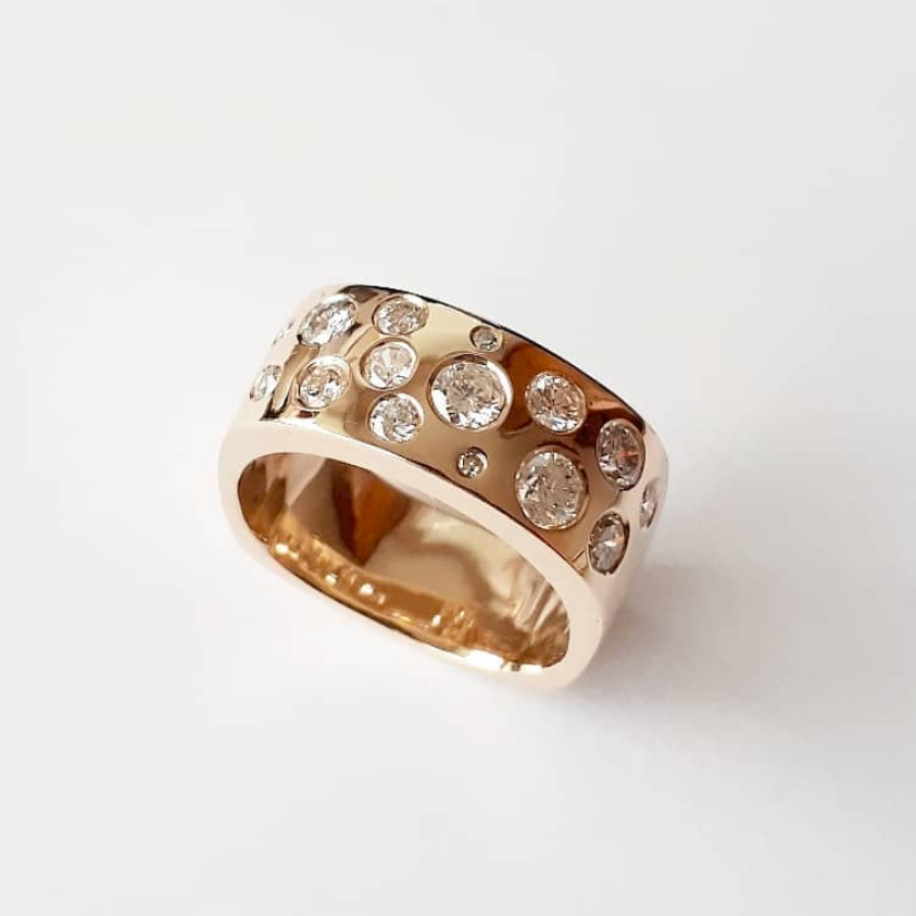 Gold and flush-set diamond cocktail ring