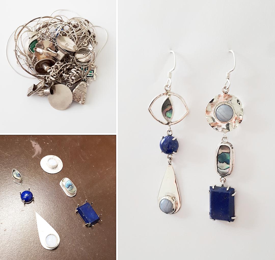 Assymetrical Lapis Lazuli Lace Agate Paua Shell Dangle Earrings.png