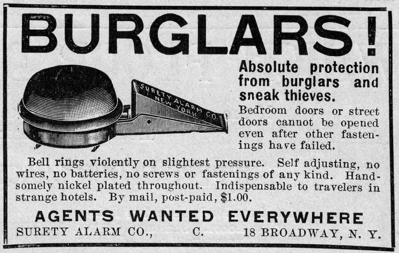Ad for Surety Alarm Co. in the February 17, 1906 issue of the Literary Digest