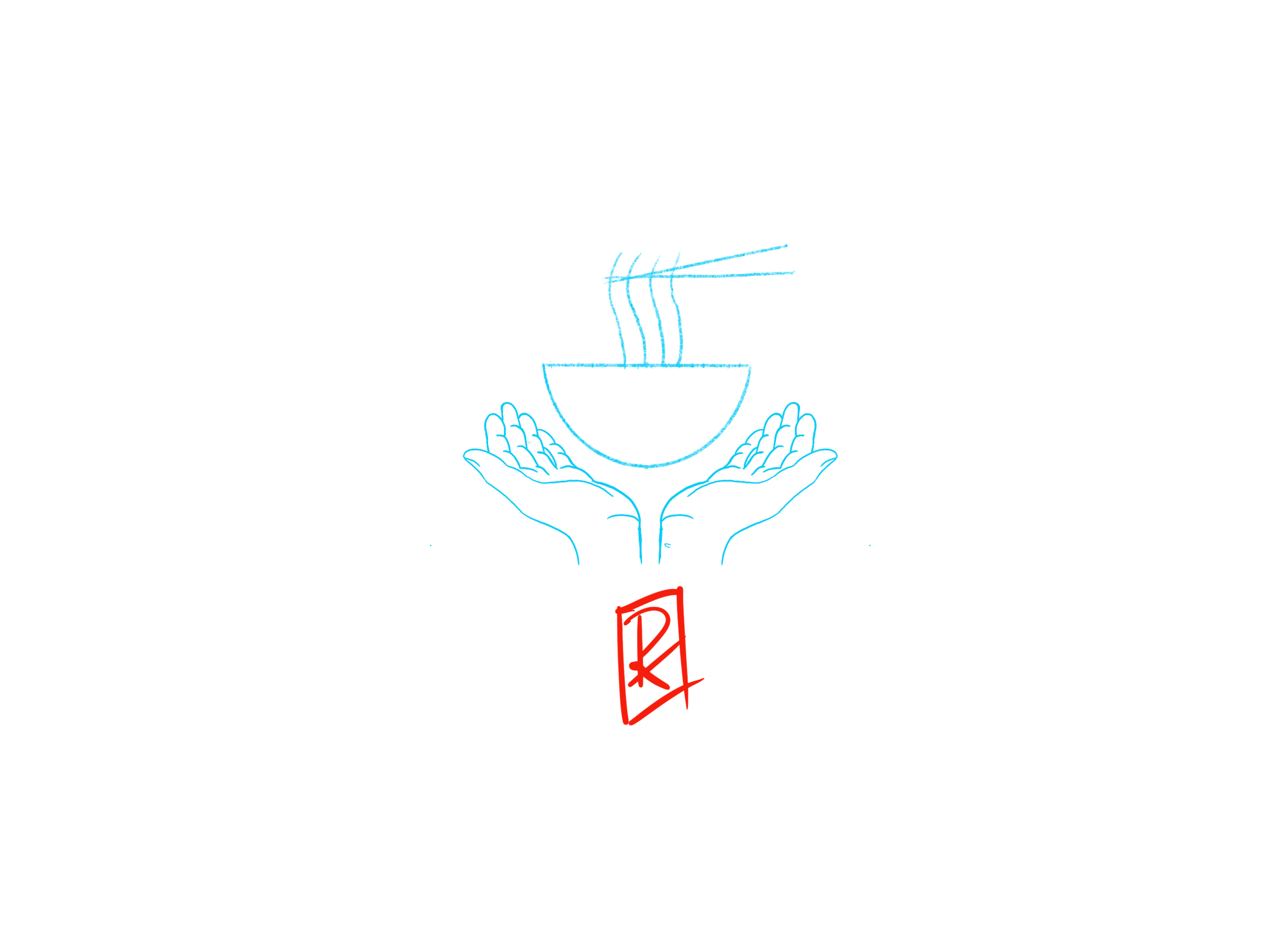 Fig. 6 - Hands with Soup Bowl and Stamp Overlay