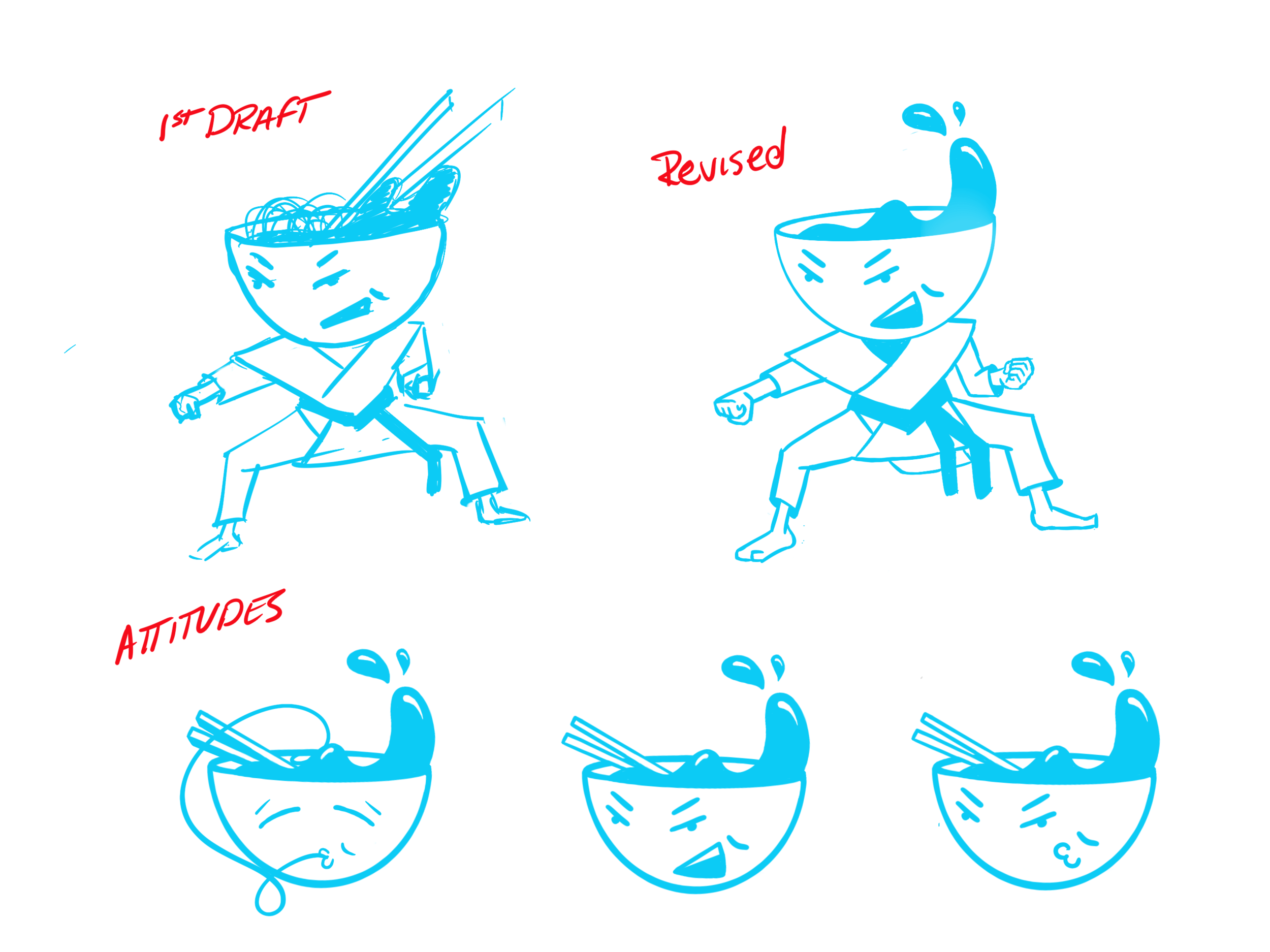 Fig. 8 - Early Character Design Explorations and Facial Expressions