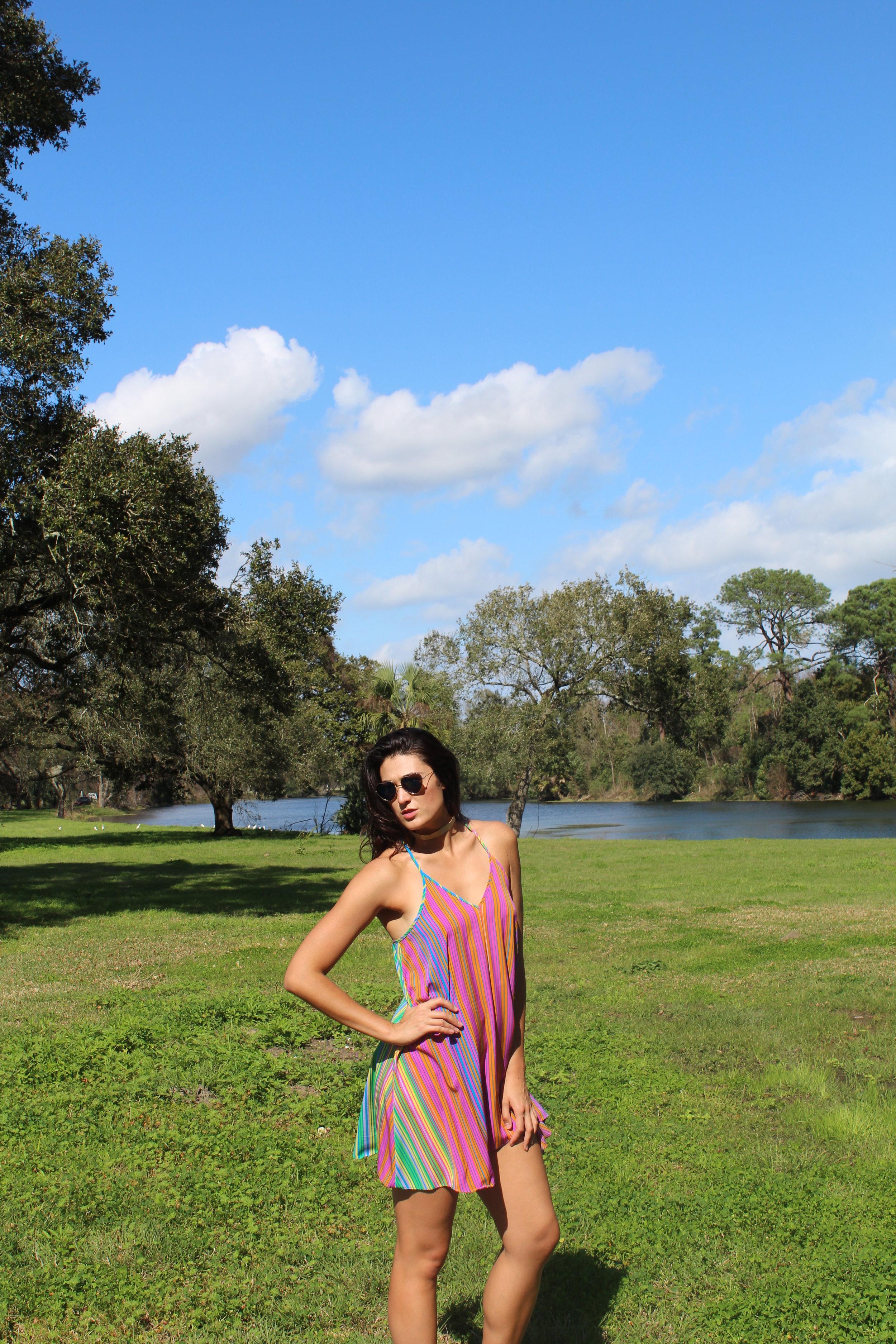 LE TOTE - Au Amanda Uprichard  Multi Stripe Dress $54 & Noir Luxe  Mesh Gold Choker $13