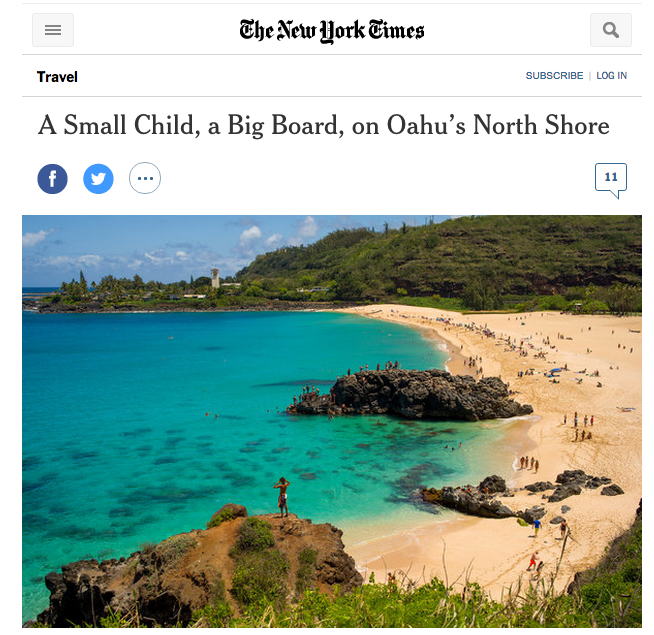 New York Times- A Small Child, a Big Board, on Oahu's North Shore