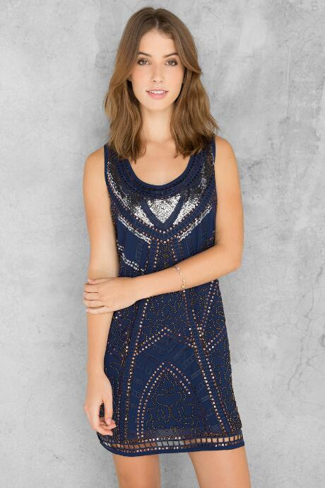 Navy and Silver Sparkle Sequin Holiday Party Dress