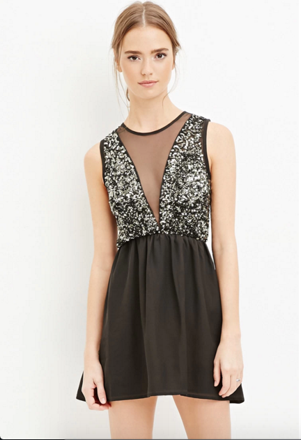Deep V New Years Holiday Party Dress