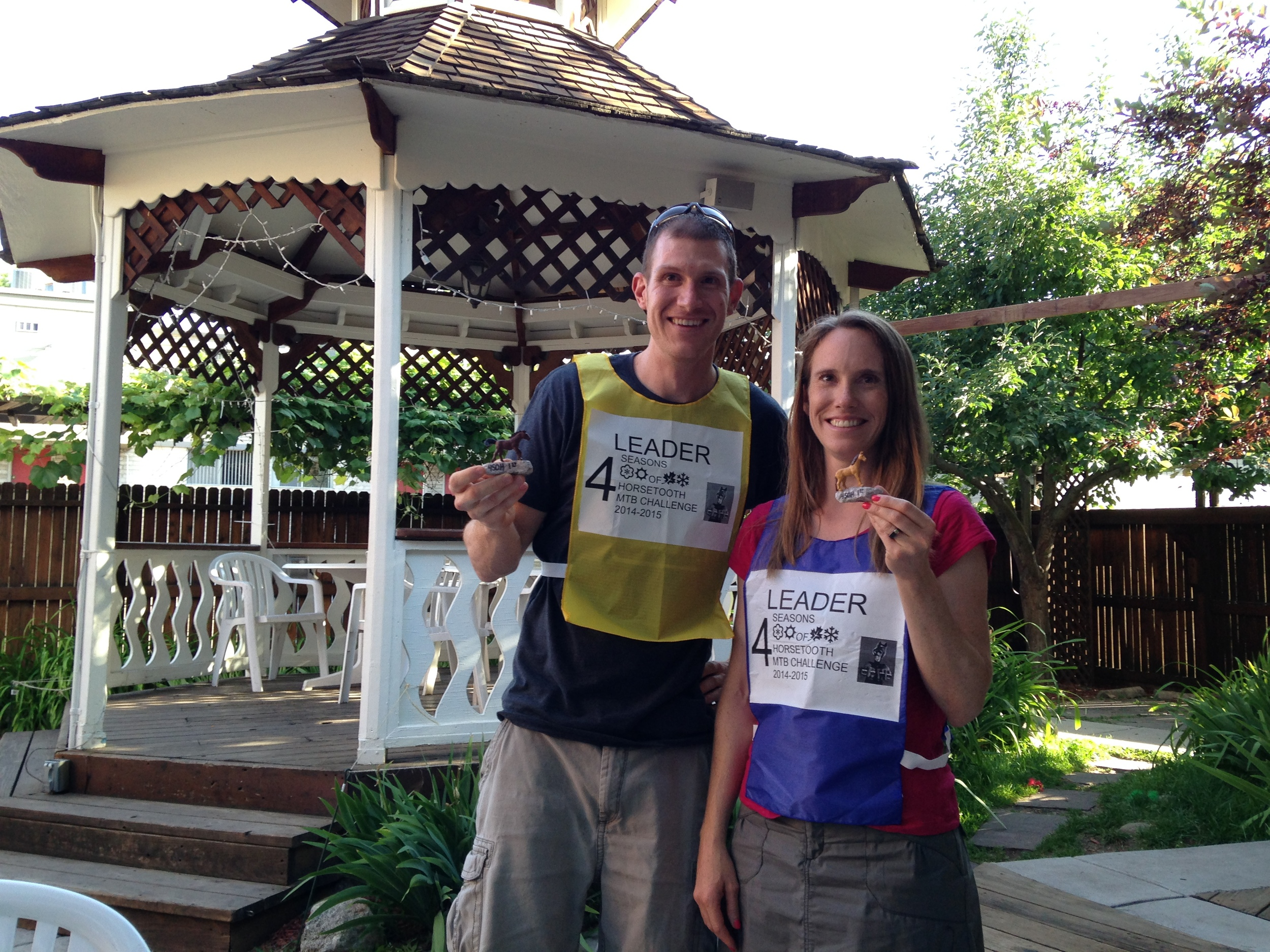 Winners of the Inaugural 4SOH Mountain Bike Challenge - Ben Parman and Heather Baumgartner (and their trophies)