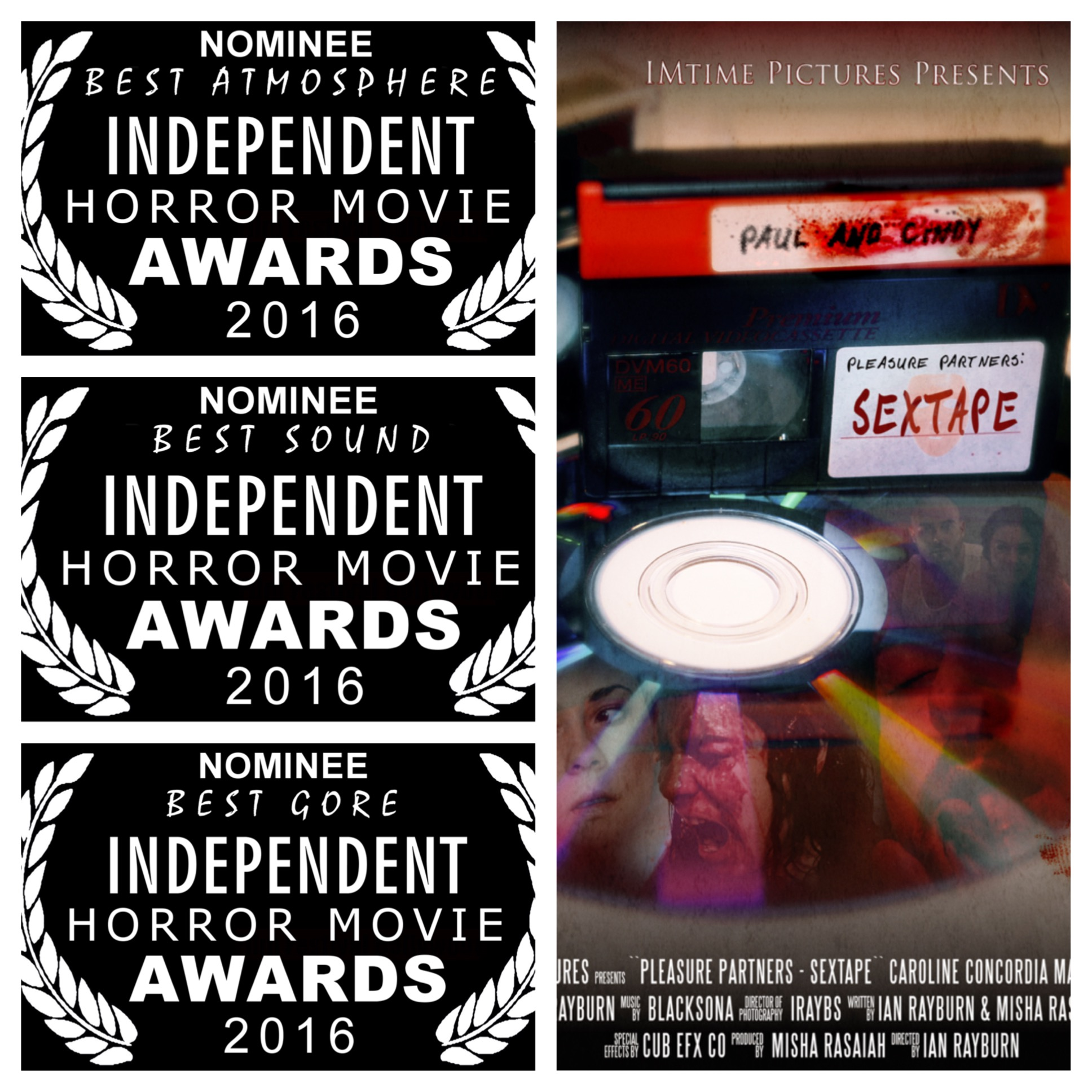 """SEXTAPE was a NOMINEE for 3 awards at the """"independent Horror Movie Awards""""  -Best Gore, - Best Sound, - Best Atmosphere"""