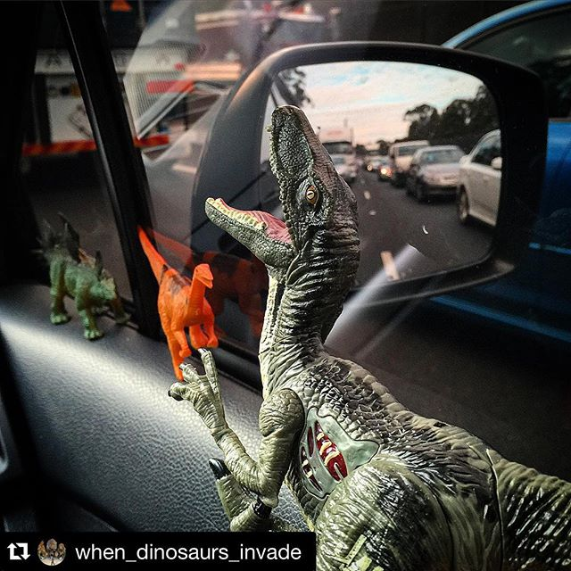 Today's traffic courtesy of #Repost @when_dinosaurs_invade ・・・   The Freeway ©