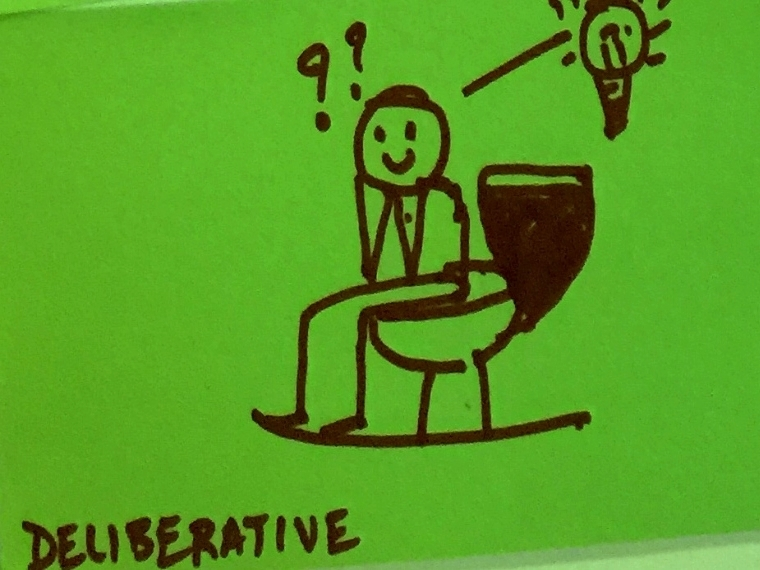 Deliberative StrengthsFinder Singapore Man Pondering Life Toilet