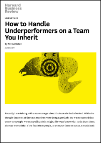 How to Handle Underperformers on a Team You Inherit (Harvard Business Review)