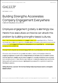 Building Strengths Accelerates Company Engagement Everywhere (Gallup, Inc.)