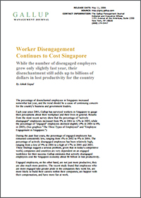 Worker Disengagement Continues to Cost Singapore (Gallup, Inc.)