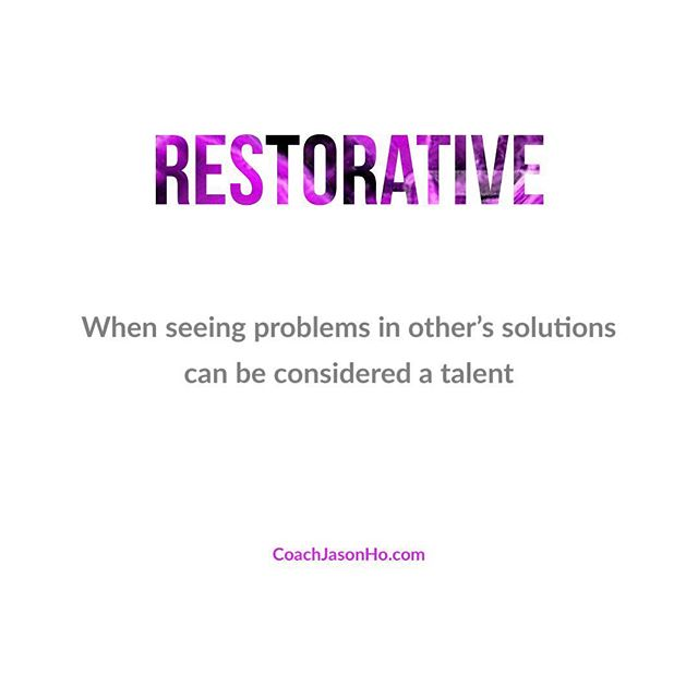 """[#CliftonStrengths] #StrengthsFinder #restorative #StrengthsFinderFun • • This is my number 20. Seeing problems in almost everything. With both people and work • • • • """"Creating the most Advanced StrengthsFinder Leadership Workshop Program in the world"""" • • #GallupStrengthsFinder #StrengthsQuest #StrengthsSchool #Gallup #StrengthsFinderSG #HumanResource #SelfImprovement #SelfDevelopment #TeamBuilding #StrengthsCoach #Leadership #ProfessionalDevelopment #StrengthsFinderCoach #CoachJasonHo Jason Ho • SouthEast Asia & Singapore's 1st Gallup Certified StrengthsFinder  Coach • Strengths School™ Singapore"""
