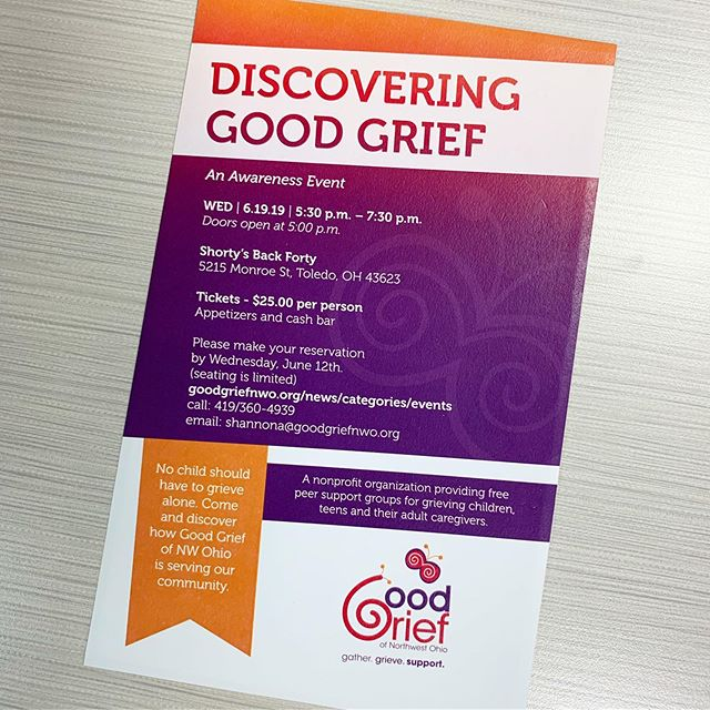 Good Grief of Northwest Ohio ( @goodgriefnwo ) provides support for grieving children, teens, young adults, and their families who have experienced the death of someone significant in their life.  I've had the pleasure of working with them to update a few of their event and fundraising pieces. Here is an invitation to their fundraiser coming up in June. If you're in the area and wanting to support an amazing cause, check it out! ☺️💜🧡