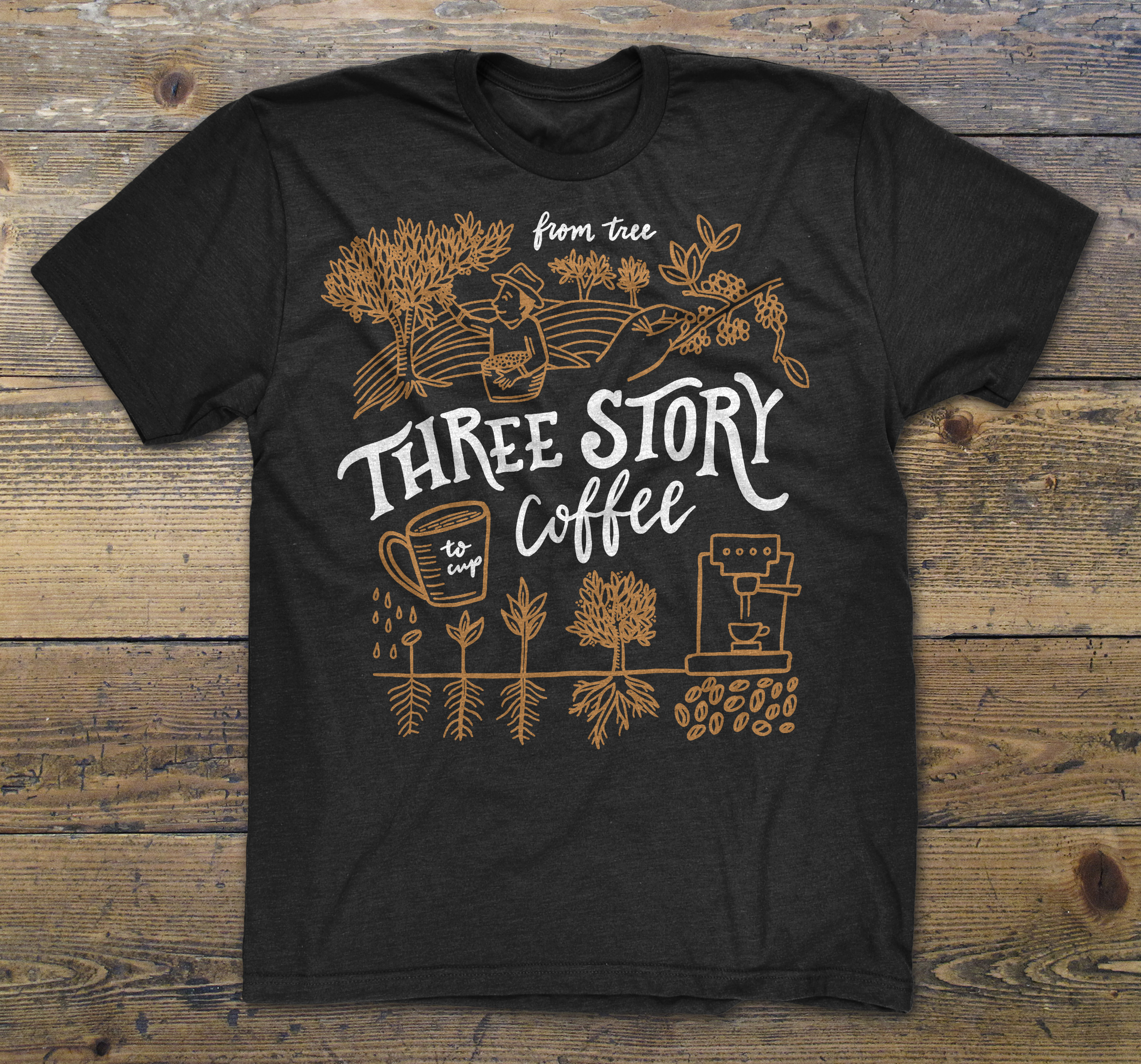 Three Story Coffee Illustration