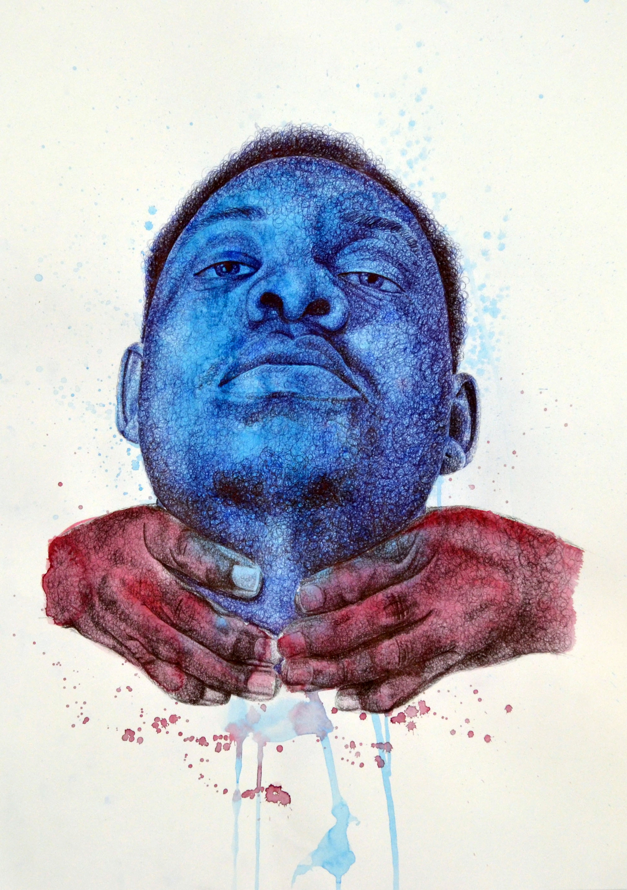 We Can't Breathe #2  Ballpoint Pen, Gouache, and Colored Pencil  22'' x 30''  2016