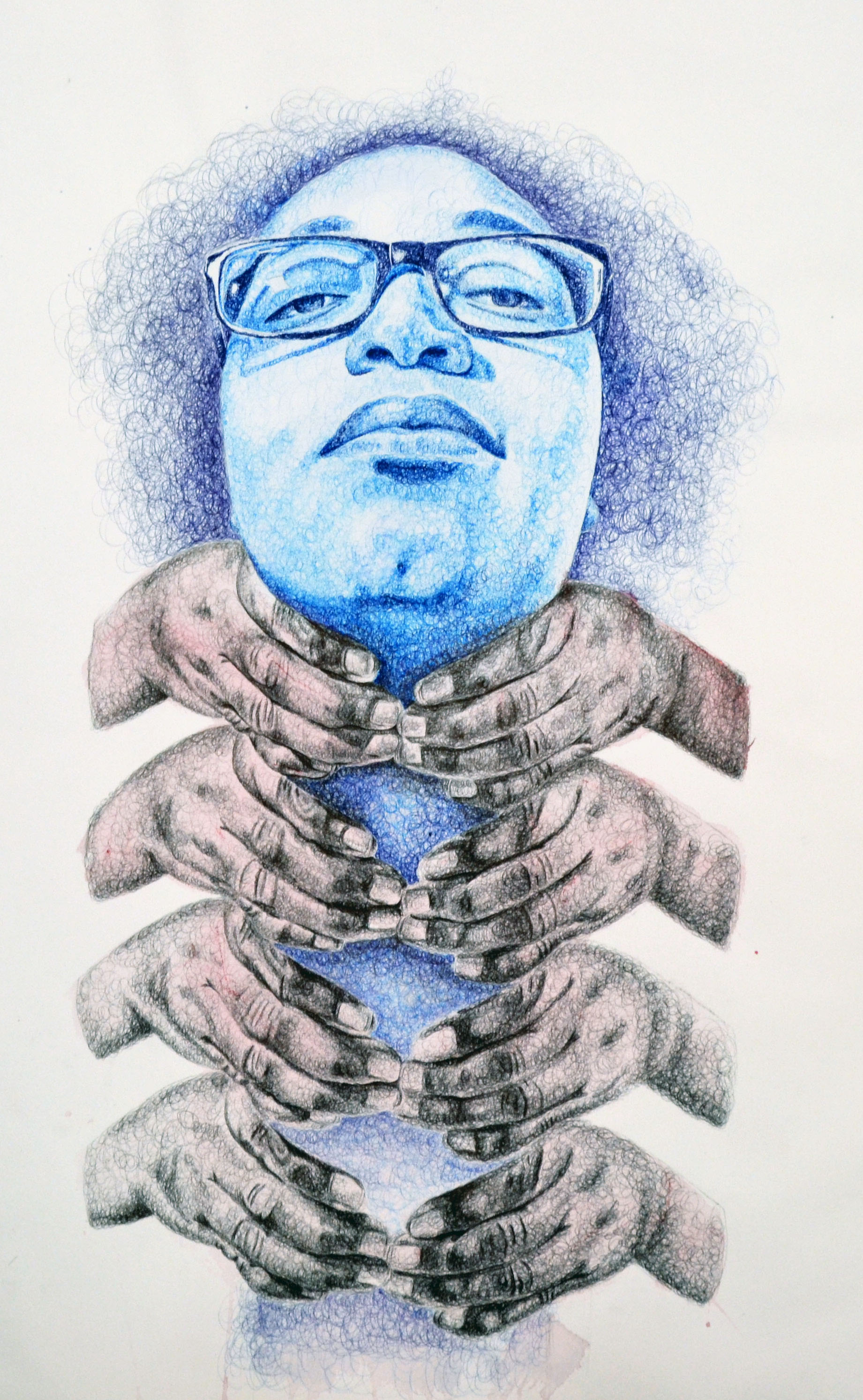 We Can't Breathe #1  Ballpoint Pen, Gouache, and Colored Pencil  22'' x 30''  2016