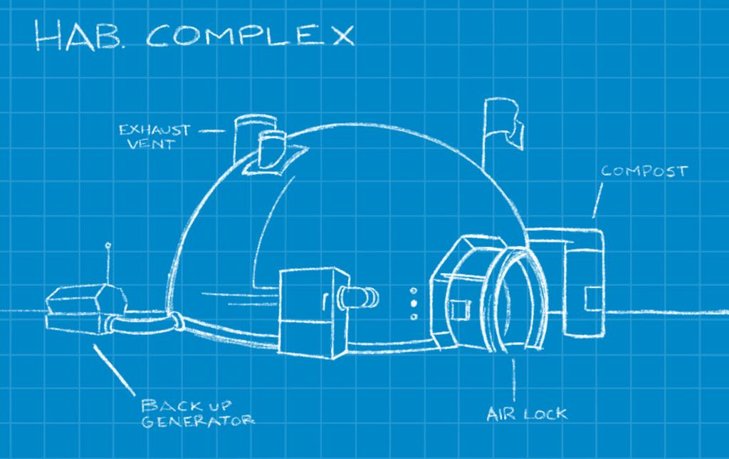 Players have blueprints of buildings they can construct to give them in-game assistance.