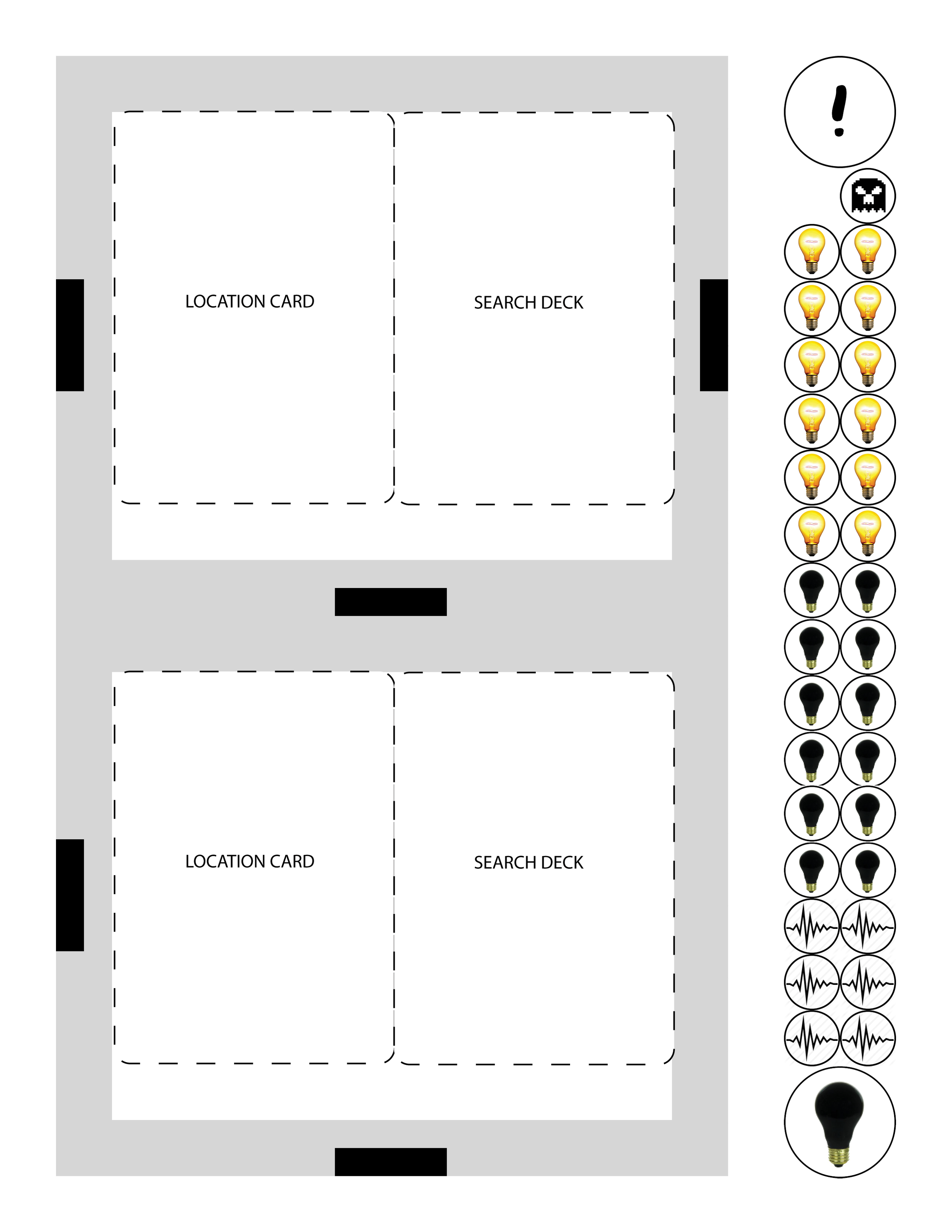 A page from the Grave Error PnP, featuring house layout cards and light icons.