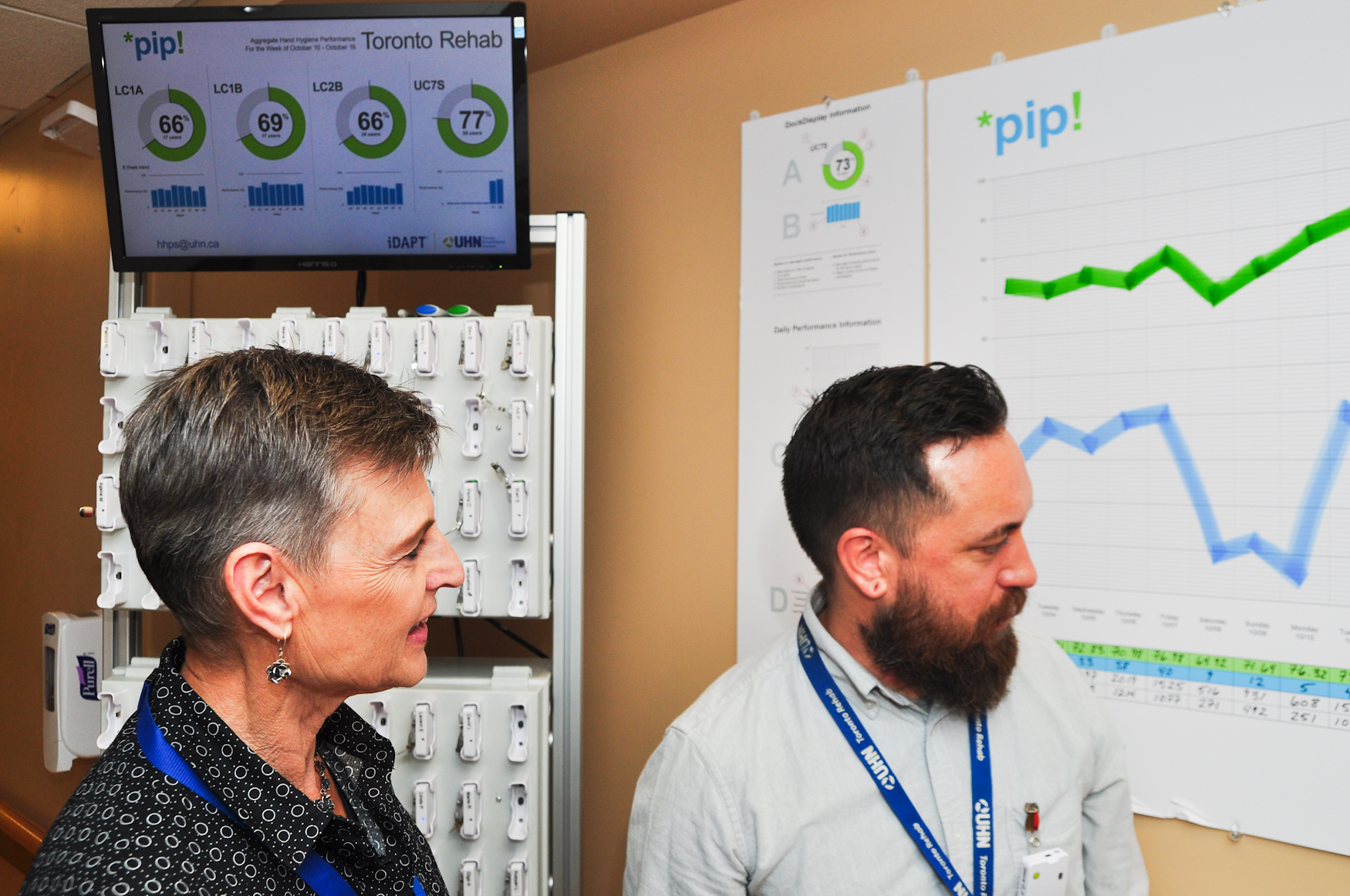 In front of a bank of docked badges, Holliday and Pong (left to right) review a TRI ward's hand-hygiene performance.