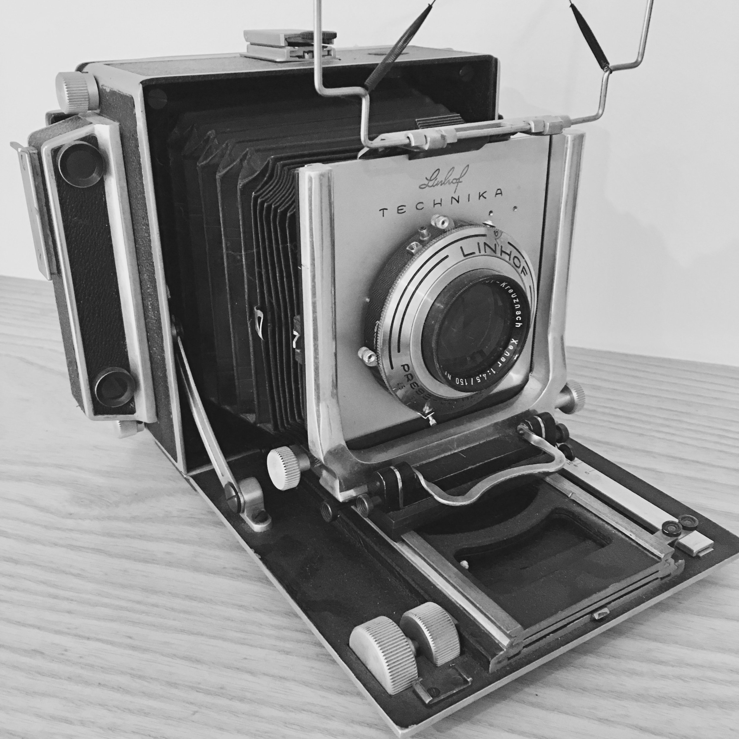 This is an early Linhof Technika from 1947. I bought it from a guy I met in Arizona for $200, and it works perfectly.