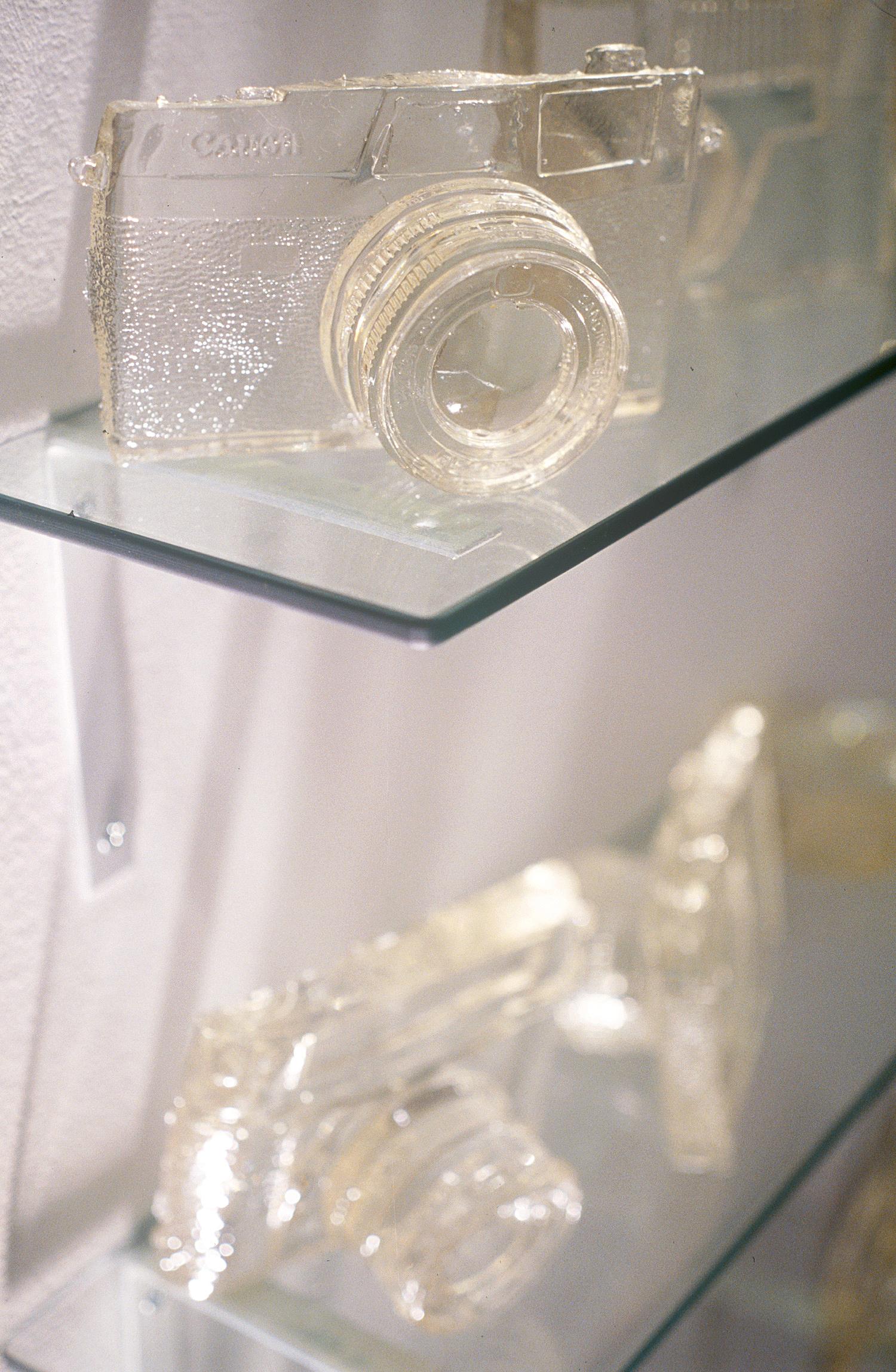 Resin cameras,Penelope Davis, 1997, installation detail, resin, glass