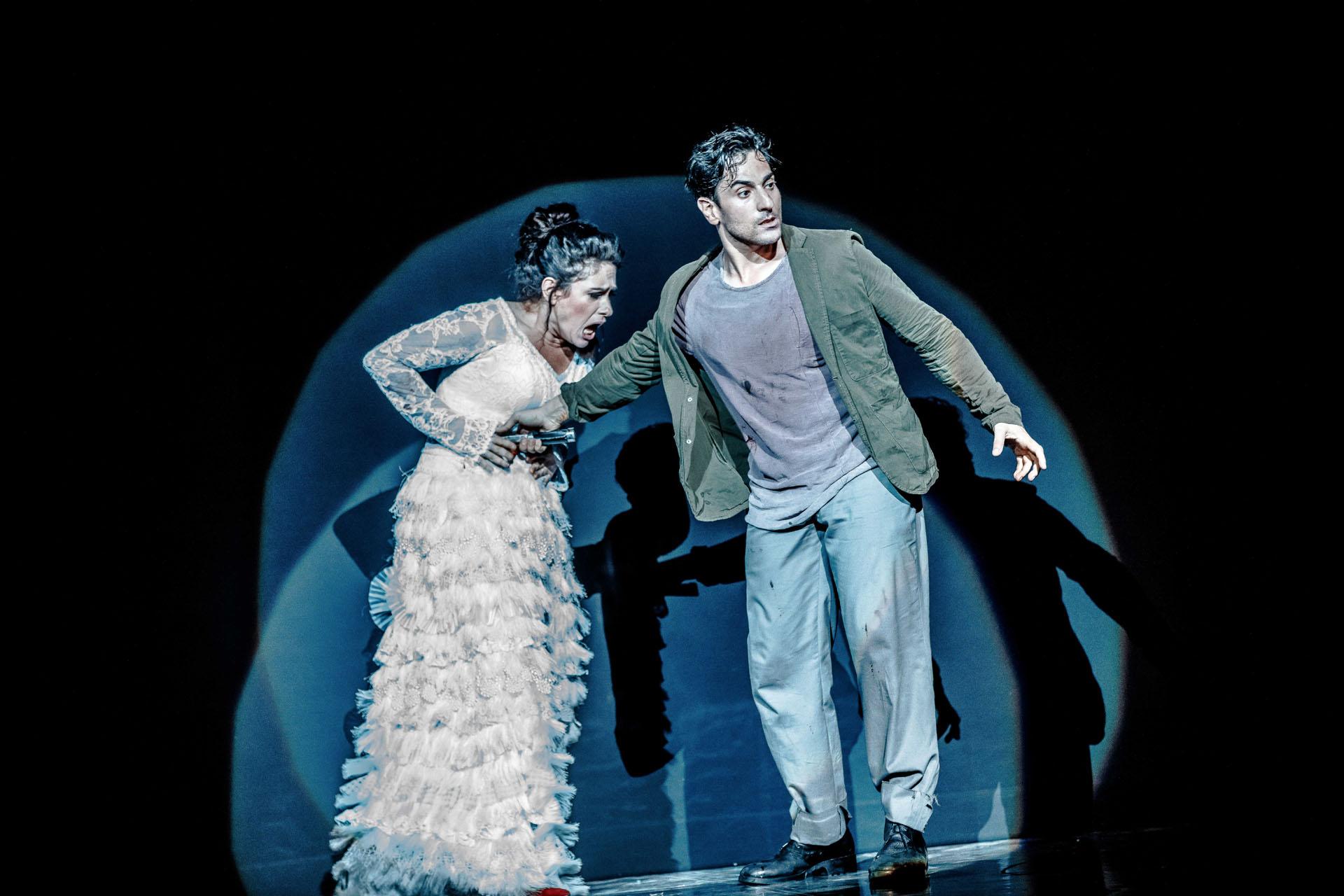 Rinat Shaham and Leonardo Capalbo in a scene from  Carmen .