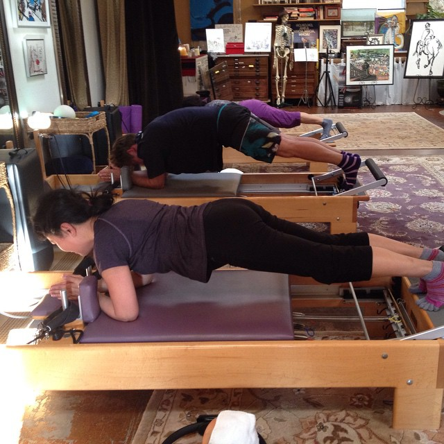 2 minute planks on the reformer