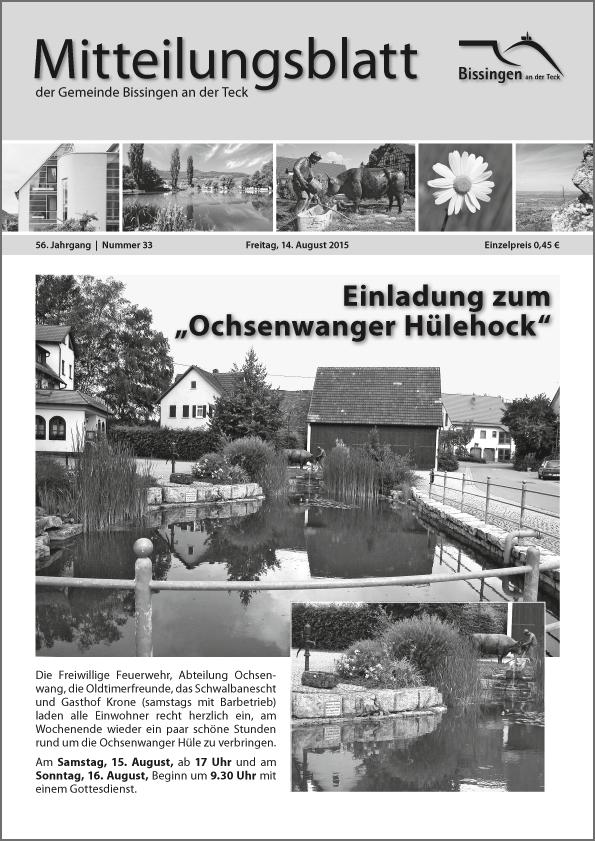 """""""Mitteilungsblatt"""" der Gemeinde Bissingen an der Teck"""
