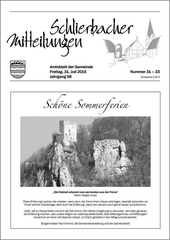 """""""Schlierbacher Mitteilungen"""" Mitteilungsblatt der Gemeinde Schlierbach"""