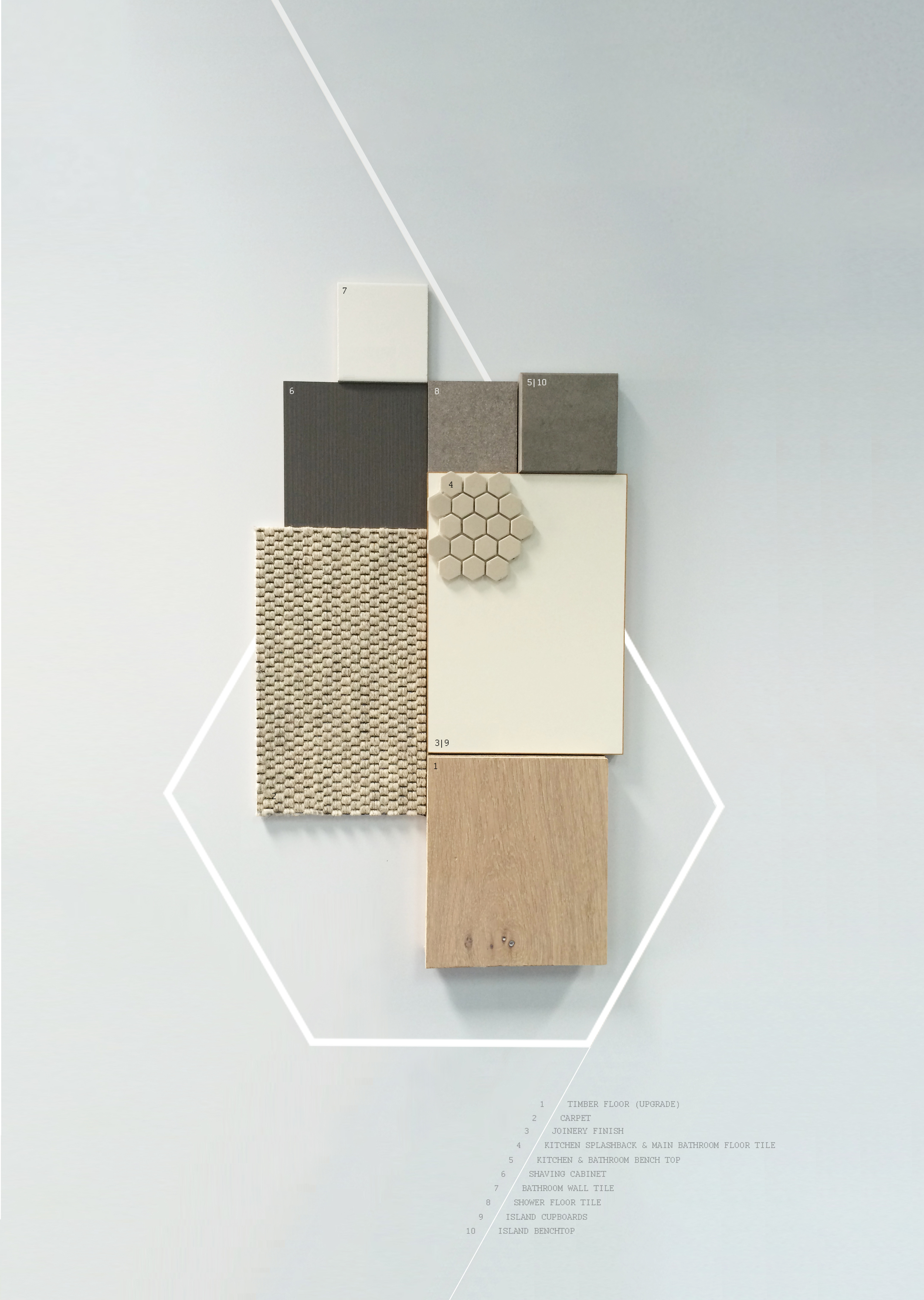 Finishes board [light scheme]   Source samples and graphically display materials for display in marketing suite