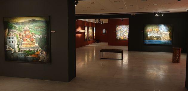 Blick in die Ausstellung über den 'Heiligen Berg Athos' im Kulturzentrum von Ierissos auf Chalkidike